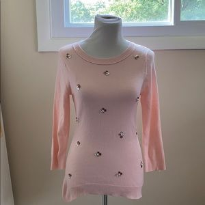 Pink tunic length sweater with sequin design.  XS
